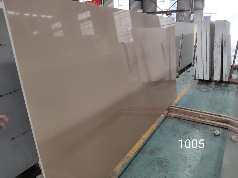 pure beige quartz stone slab