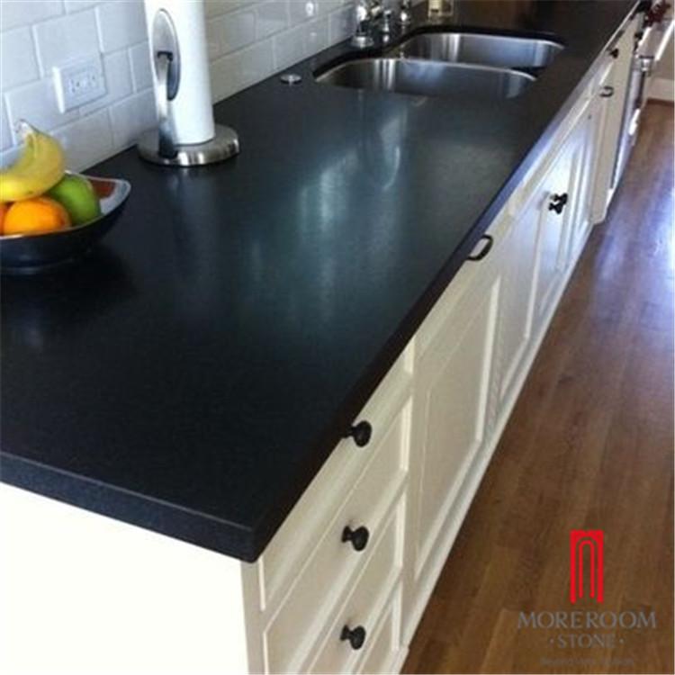 artificial engineered pure black quartz stone kitchen countertop