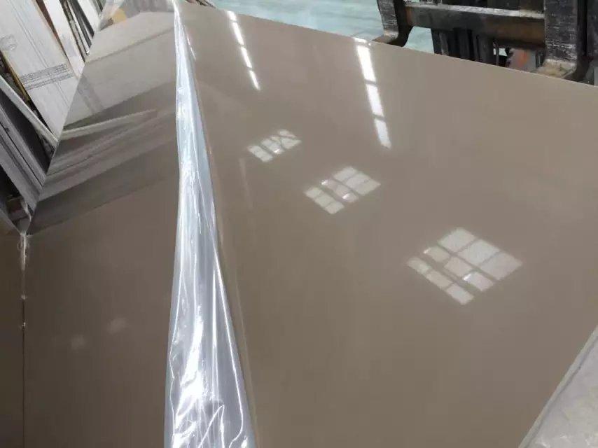 Pure brown color quartz slabs