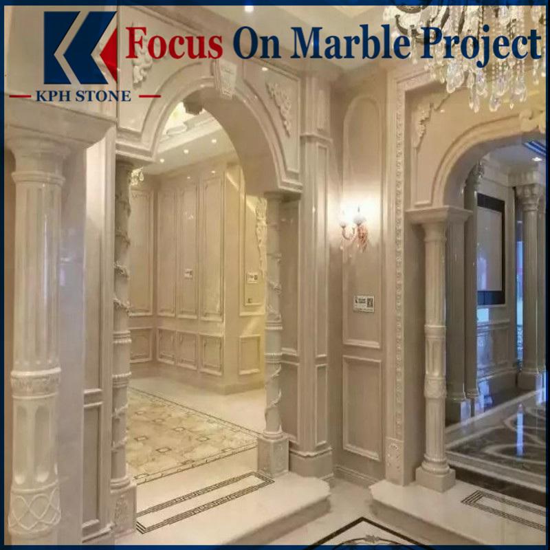 Aran white marble cnc wall panels