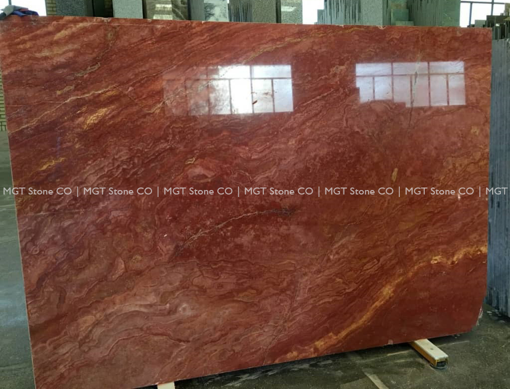 red travertine slab cross cut