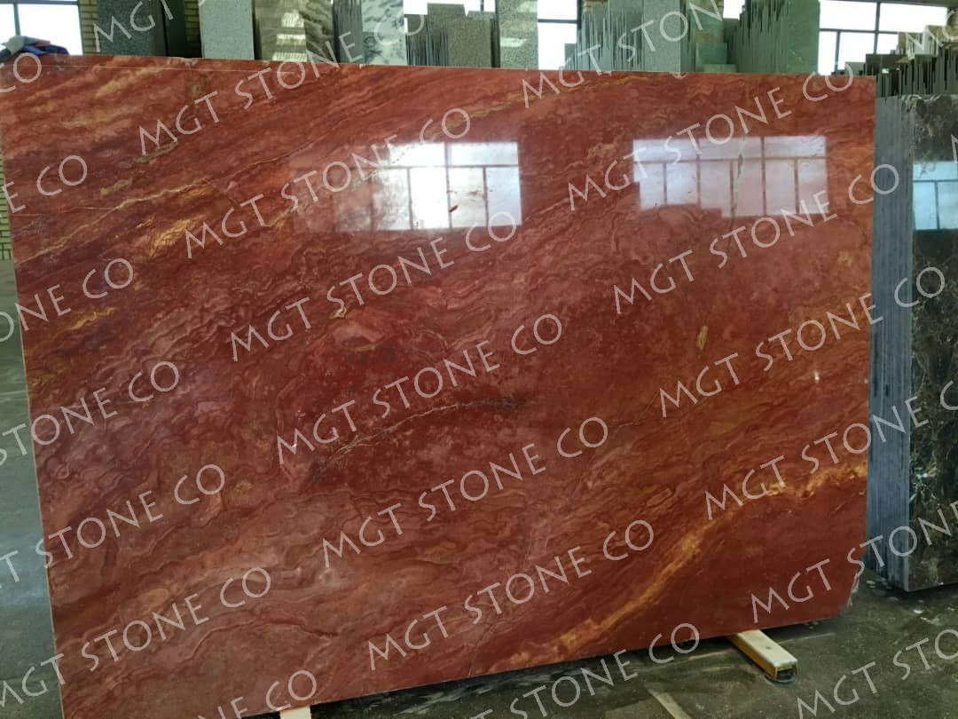 Red Travertine Cross Cut Polished Slabs