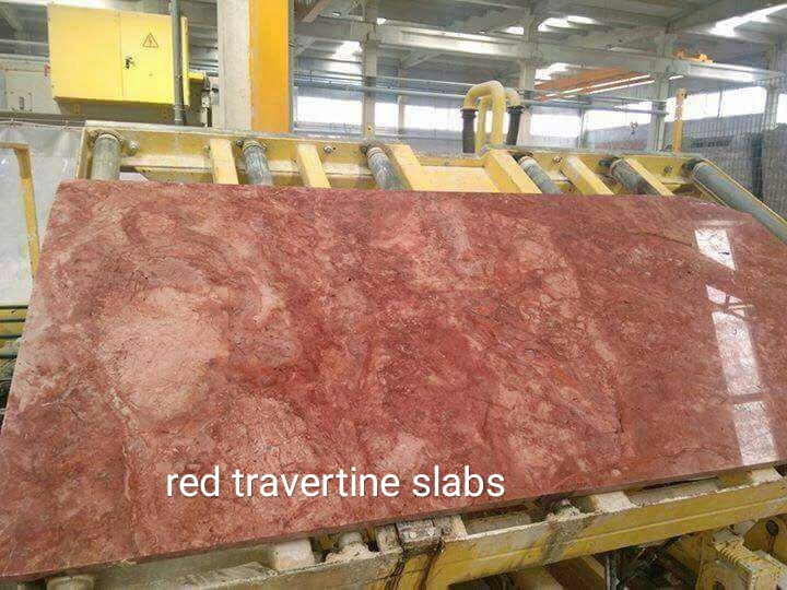 Red Travertine Polished Slabs