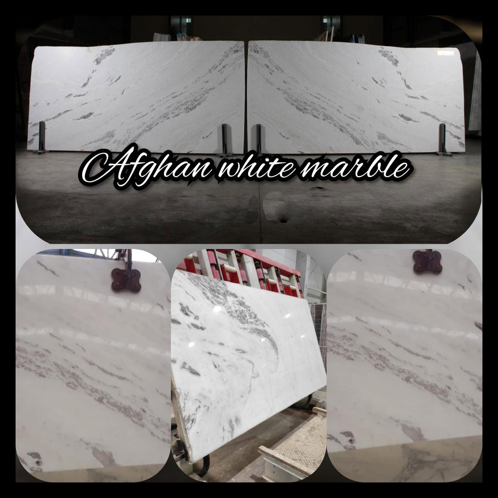 Bookmatch Afghan white marble slabs