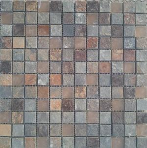 rusty slate and glass mosaic tile for wall cladding