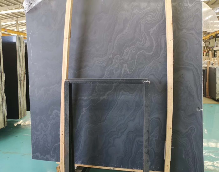 Honed Nero Seta Back Cut Marble Slab