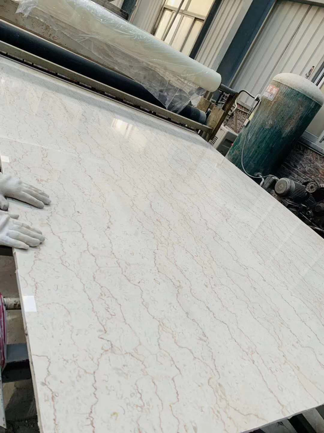 Polished Shell Beige Marble with Red Lines