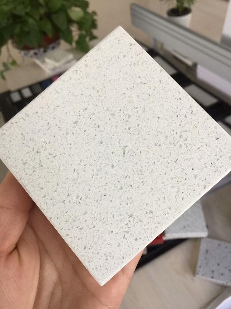 shimmer white quartz stone slab