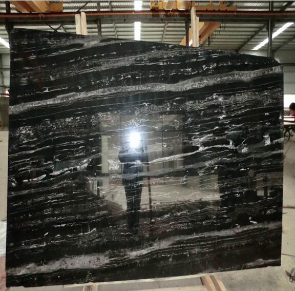 Polished Silver dragon black marble slabs A quality