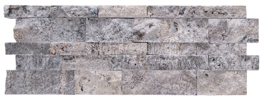 Ledger Silver Travertine Wall Cladding