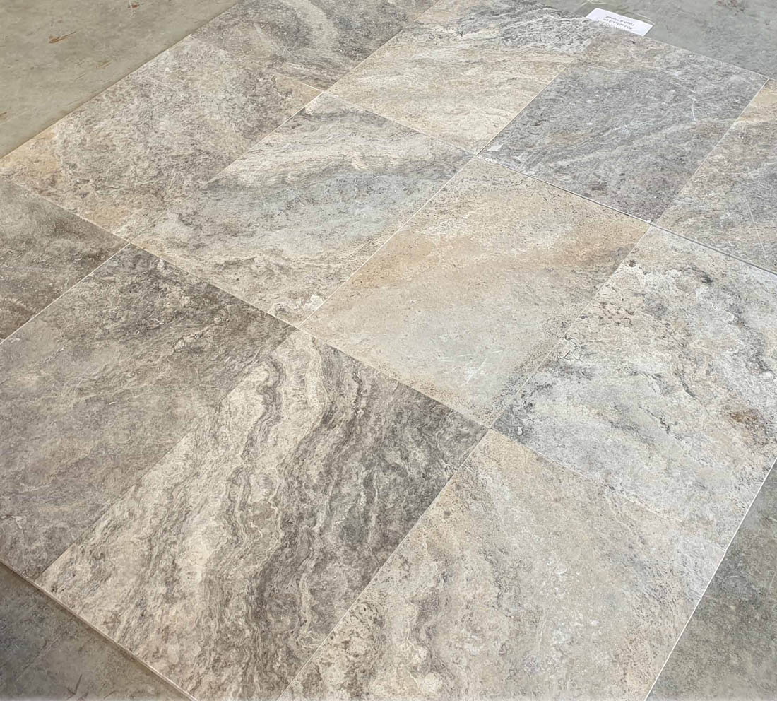 Silver Travertine Tile Filled Honed