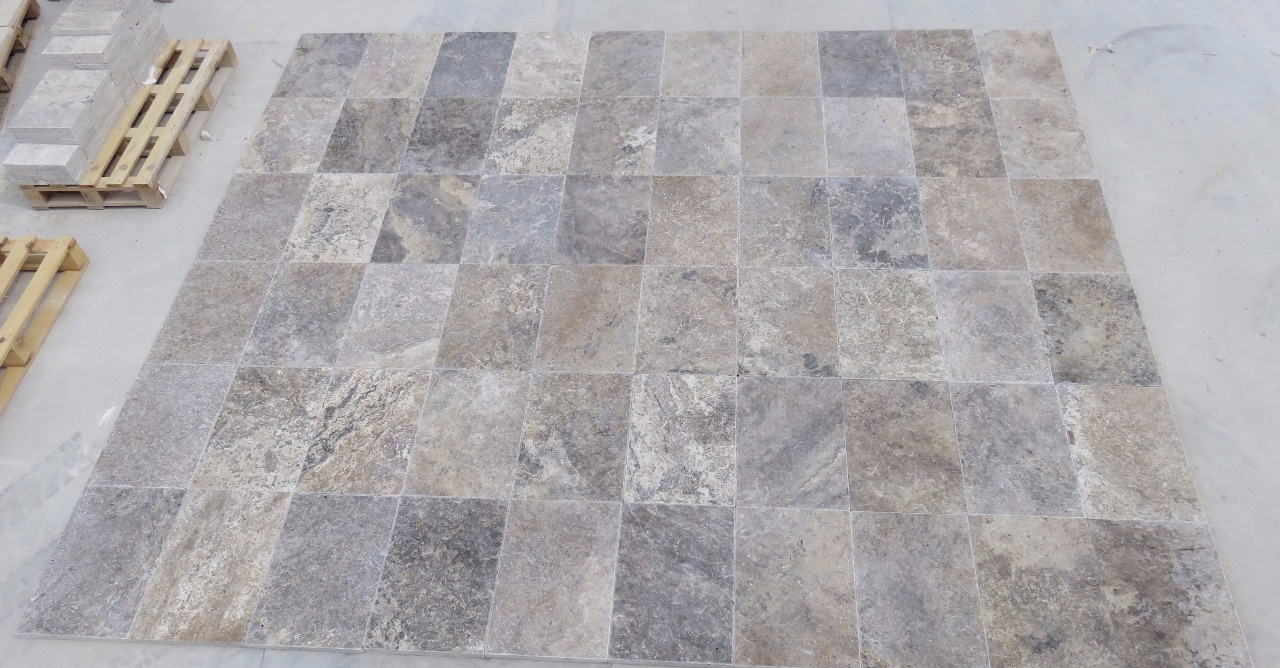 Silver Travertine Tumbled Paver