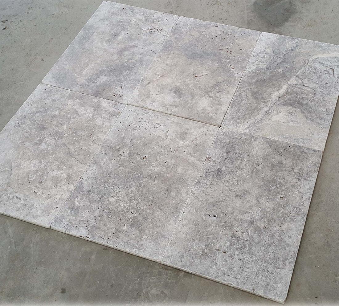 Silver Travertine Tumbled Tile