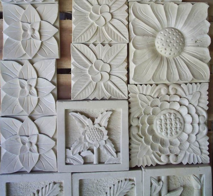 Bali White Limestone Sun Flower Small Ornament  Bali Hand-carved  Bali Carving
