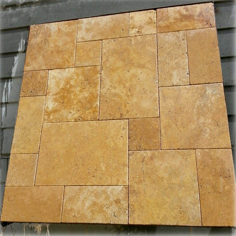 Tuscany Gold Travertine Tile French Pattern Set Paver