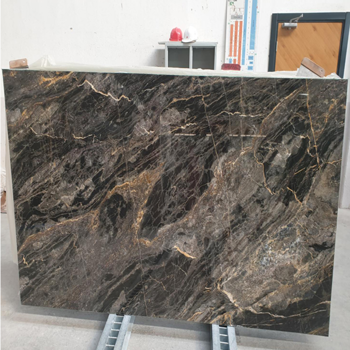Black Marble with Golden and White Veins