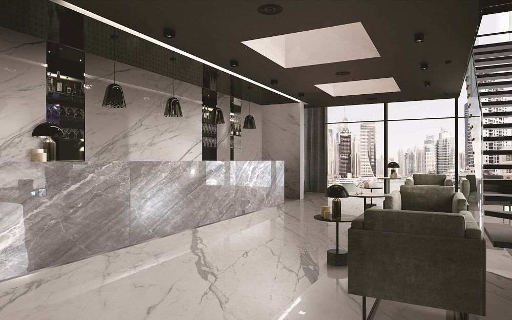 statuario white porcelain slab floor tile