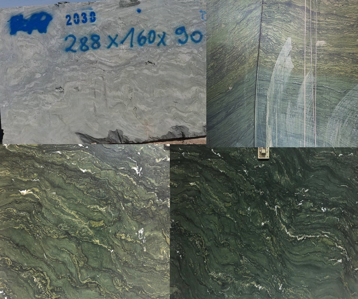 Watercolor Green Granite Natural Blocks