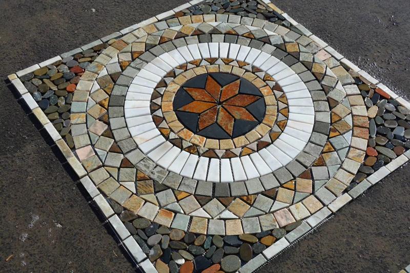 Square slate stone mosaic tile rusty
