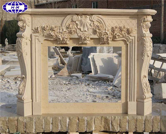 Sunny Beige Marble Fireplace