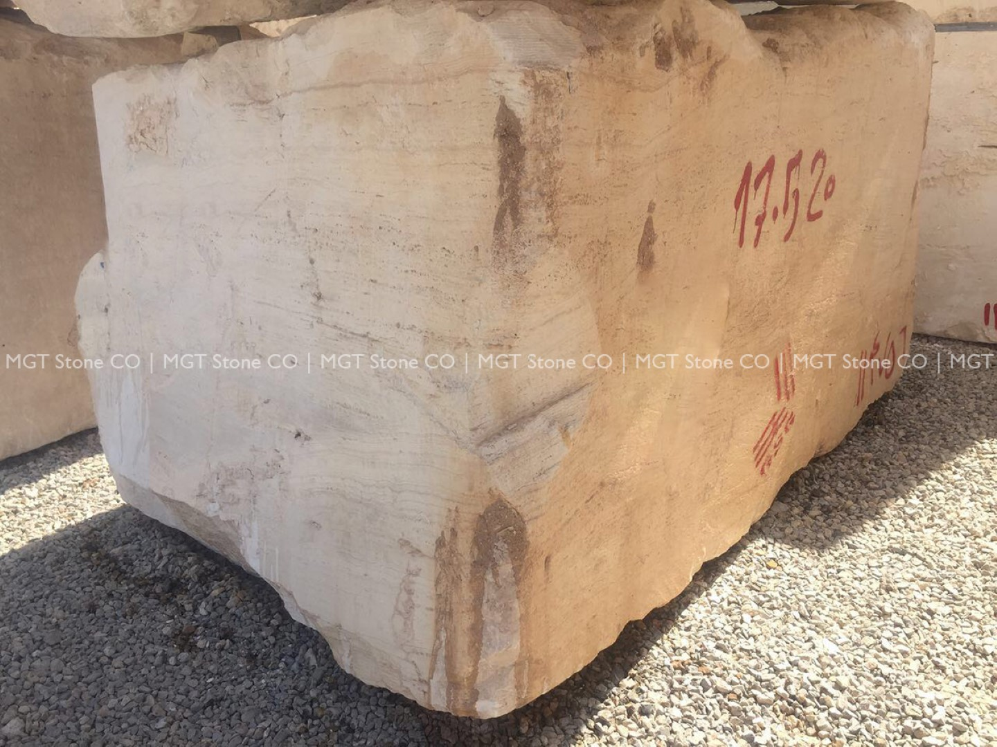 super white travertine block