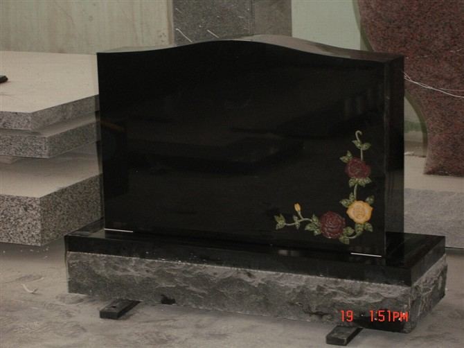 Polished Carved Shanxi Black Head Tombstone Monument