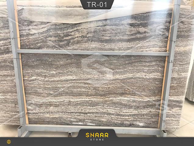 Silver smoky travertine slab