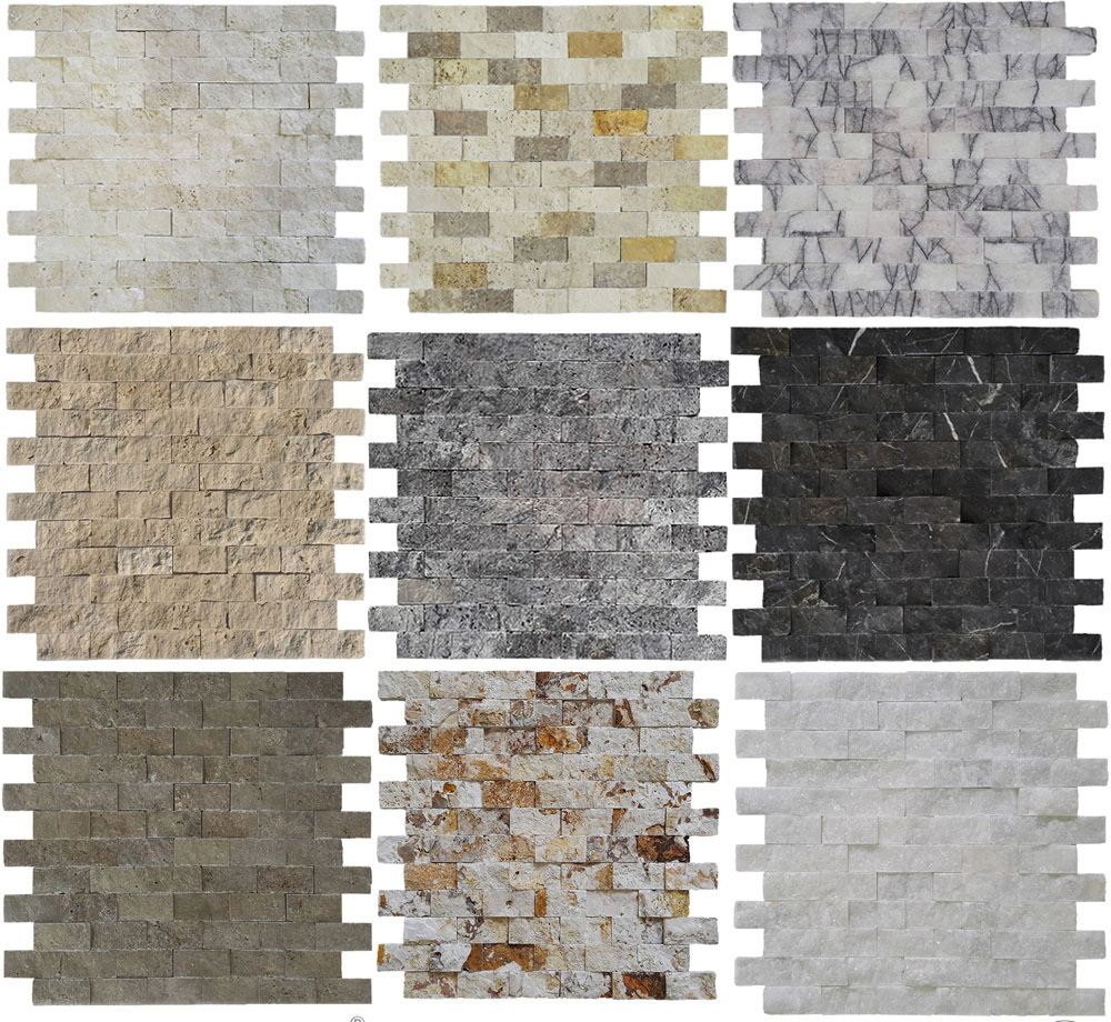 Travertine  Marble Split Face Mosaic Brick Design