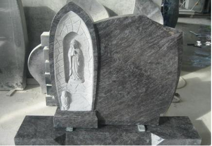 Granite Stone Tombstones With Madonna Statue