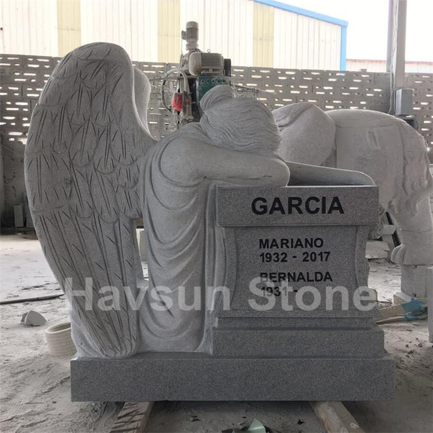 White  Kneeling Angel Weeping Angel Headstone