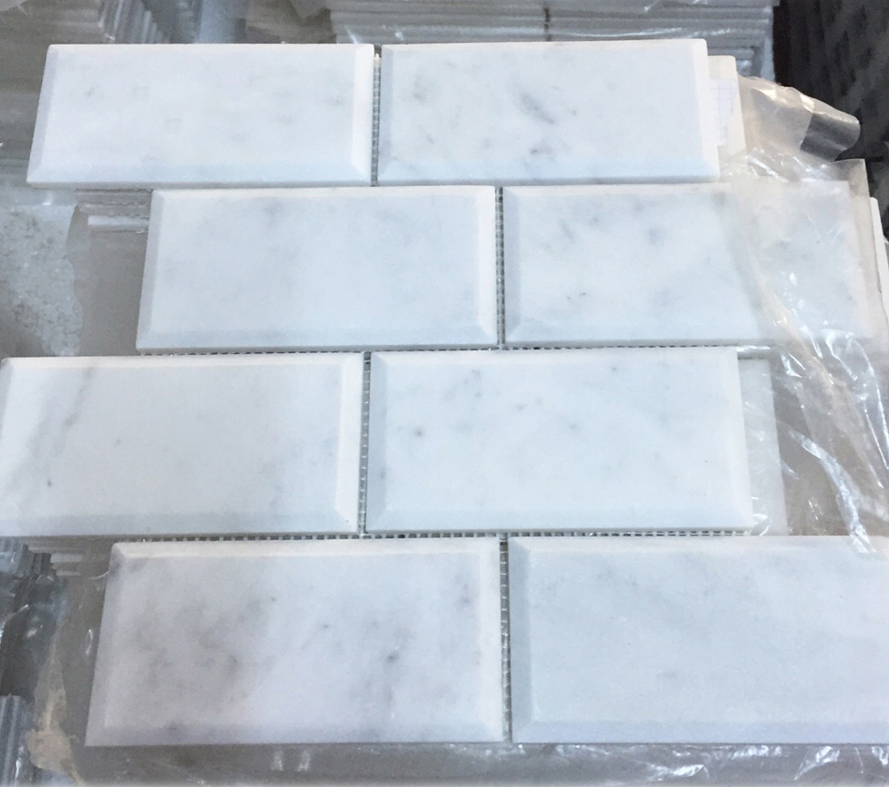 White Marble Bevelled Edge Tile