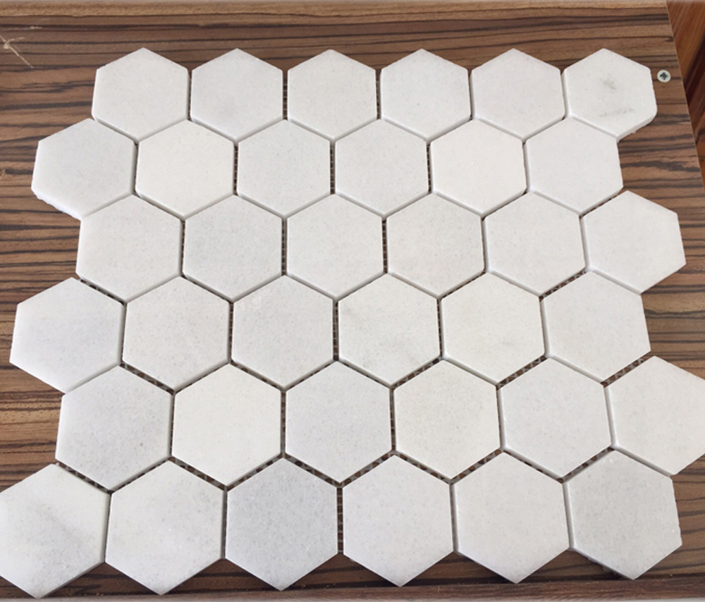 White Marble Hexagon Mosaic