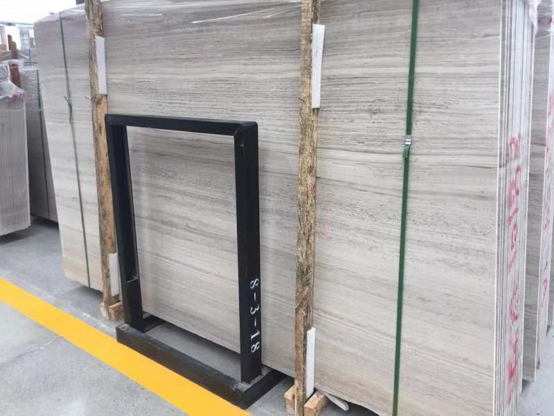 Chinese White Wooden Marble Slab