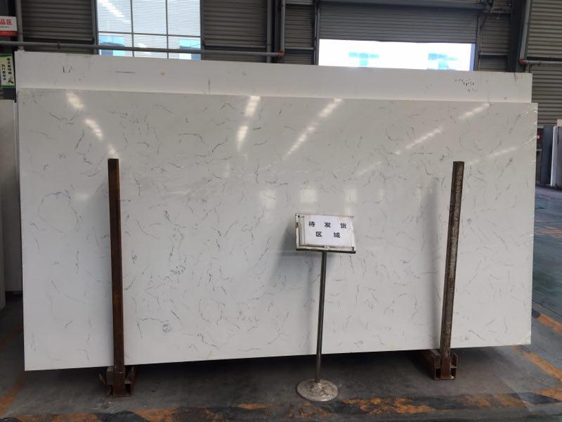 white carrara quartz stone slab