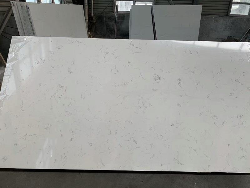white carrera quartz slab