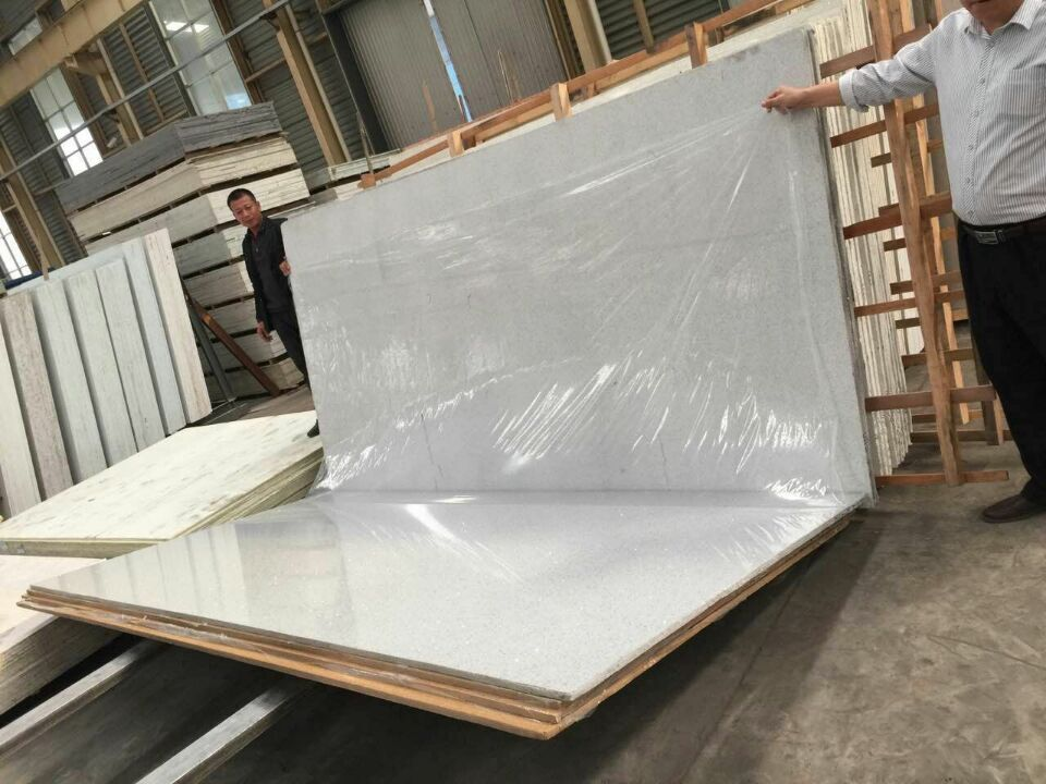 Quartz stone slabs Gray with crystal
