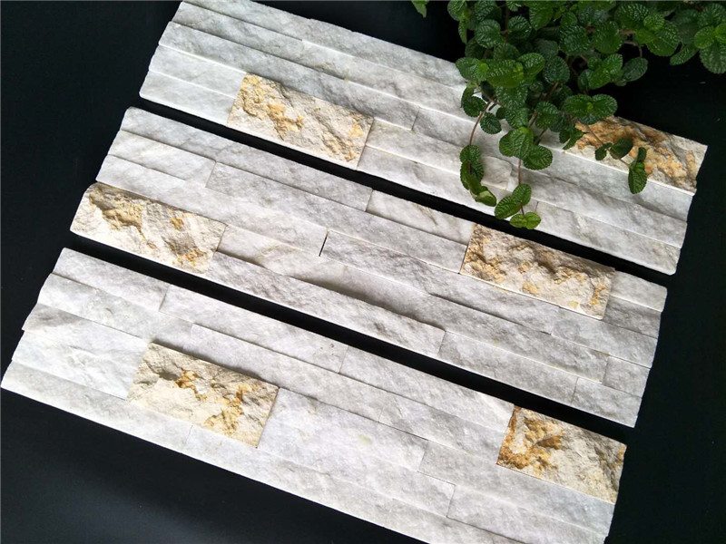 Exterior white multicolor quartzite wall cladding stone