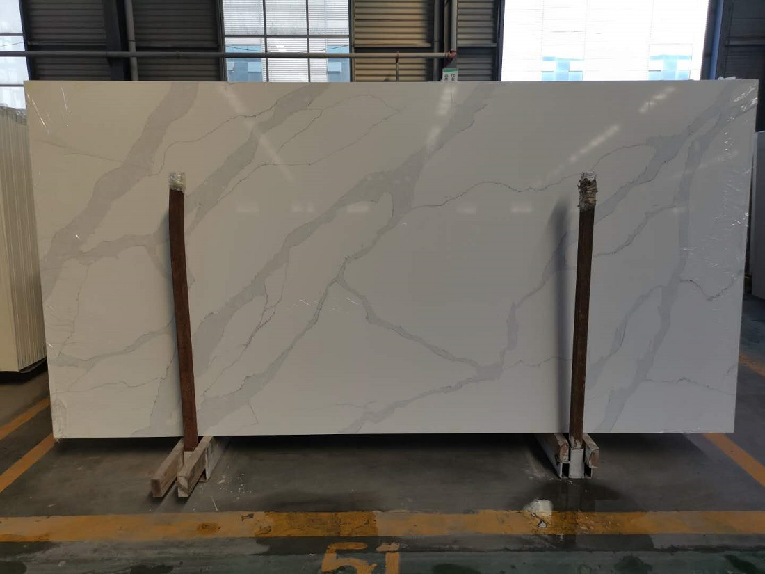 white statuario quartz stone slab