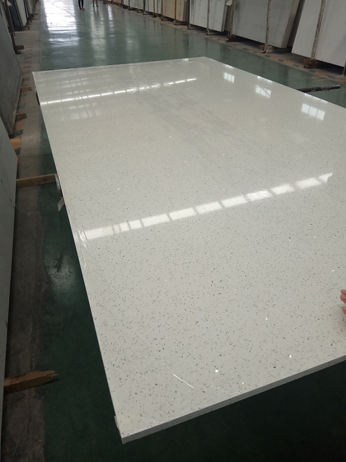 Star white artificial quartz stone slabs