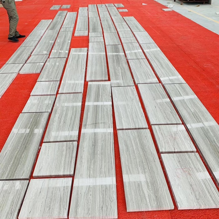 Super White Wood Grain Marble Tiles for Flooring
