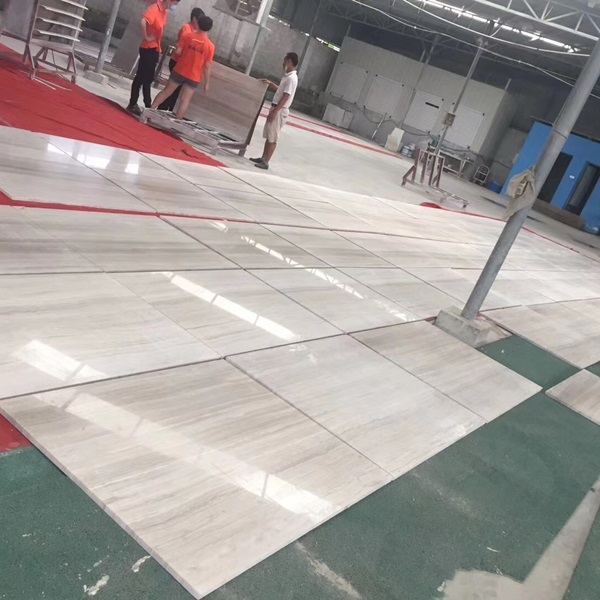 White Wood Grain Marble Tiles for Interior Floor