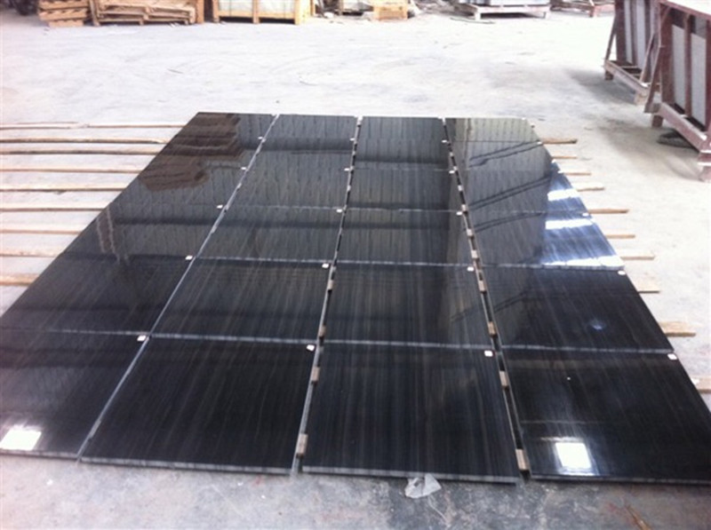 wood black marble tile