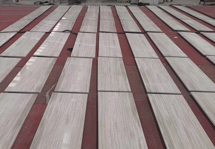 Polished White Wood Grain Marble Tiles