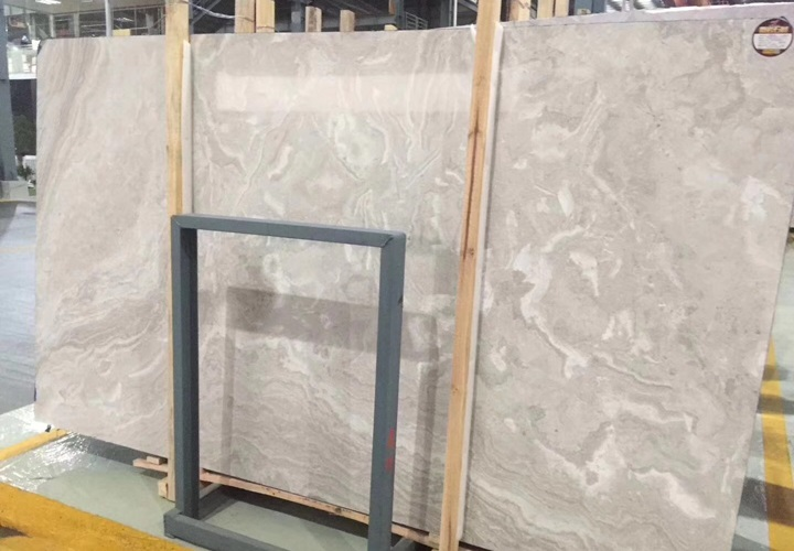 Back Cutting White Wood Grain Marble Slabs