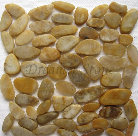 Natural polished sliced yellow river  pebble stone