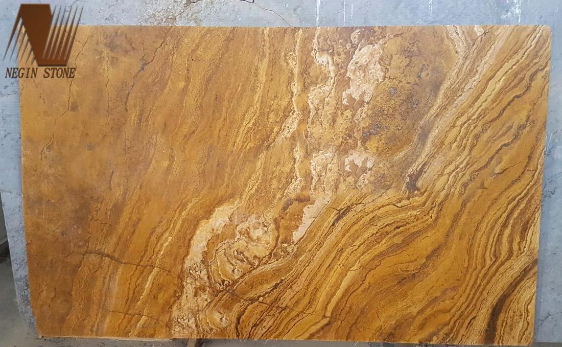 brushed yellow travertine slab