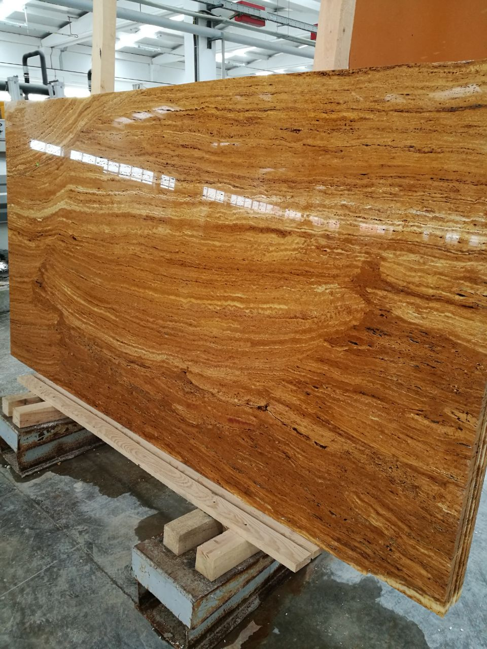 Yellow travertine Vein Cut Slabs