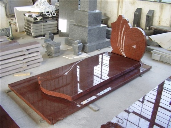 High polished red granite tombstone with slab