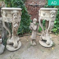 Antiqued stone garden flowerpots
