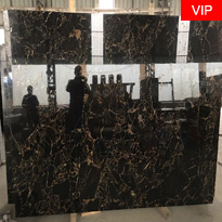 Athens Portoro Marble Polished Black Marble Slabs